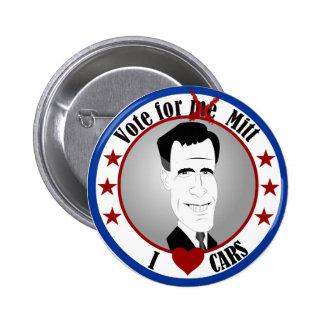 Mitt Loves Cars Button
