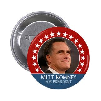 Mitt Romney 2012 - photo pinback with stars - red 6 Cm Round Badge