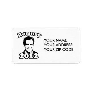 Mitt Romney 2012 Retro Address Label