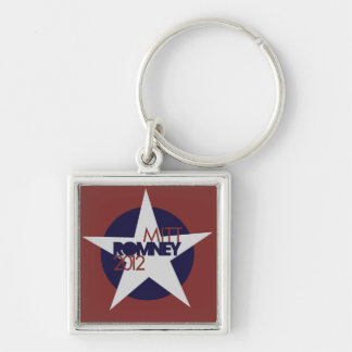 Mitt Romney 2012 Silver-Colored Square Key Ring