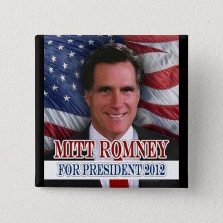 Mitt Romney 2012 Waving Flag Background 15 Cm Square Badge
