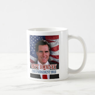 Mitt Romney 2012 Waving Flag Background Basic White Mug