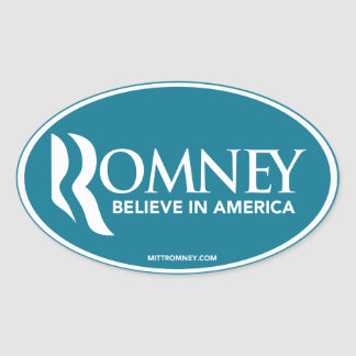 Mitt Romney Believe In America (Blue Oval Sticker) Oval Sticker