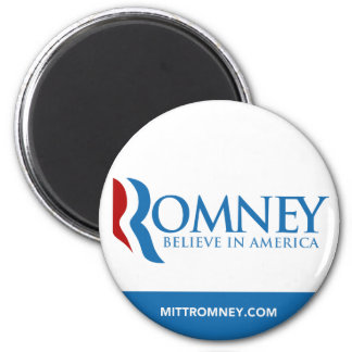 Mitt Romney Believe In America Logo with Website 6 Cm Round Magnet