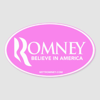 Mitt Romney Believe In America (Pink Oval Sticker) Oval Sticker