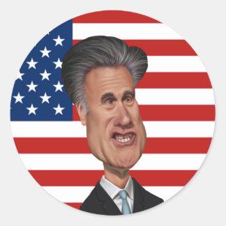 Mitt Romney Caricature USA Classic Round Sticker