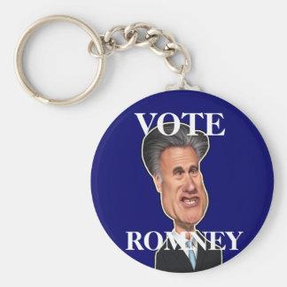"Mitt Romney Caricature USA ""Vote Romney"" Basic Round Button Key Ring"