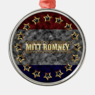 Mitt Romney Circle Stars and Stripes Silver-Colored Round Decoration