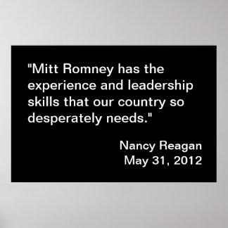 Mitt Romney Endorsement by Nancy Reagan Poster