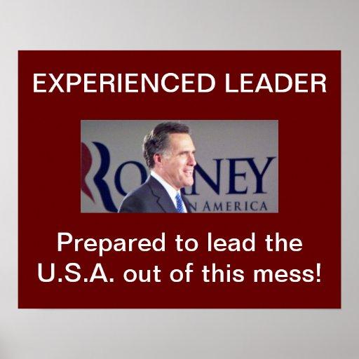 Mitt Romney Experienced Leader Posters