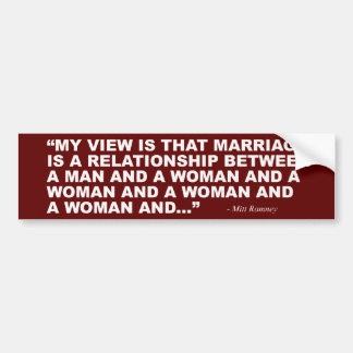 Mitt Romney on Gay Marriage Bumper Sticker