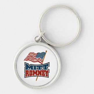 Mitt Romney Patriotic Silver-Colored Round Key Ring