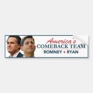 Mitt Romney Paul Ryan America's Comeback Team Bumper Sticker