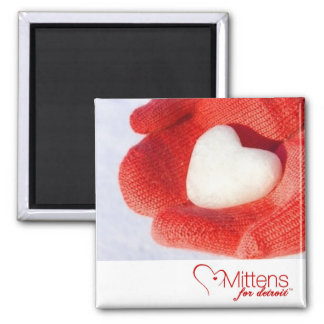Mittens for Detroit 2 inch Square Magnet