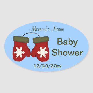 Mittens Winter Baby Shower - Blue Oval Sticker