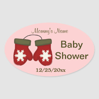Mittens Winter Baby Shower - Pink Oval Sticker