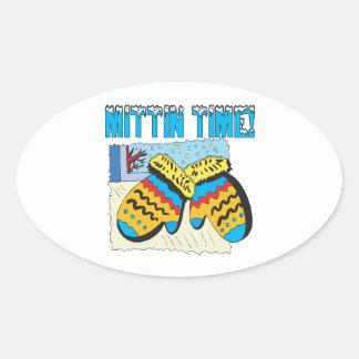 Mittin Time Oval Sticker