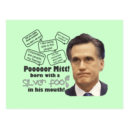 Mitt's Silver Foot in Mouth Postcard