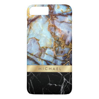 Mix and Match Marble Stone Textures Gold Stripe iPhone 7 Plus Case