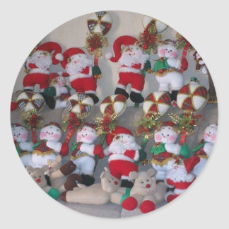 Mix of Little Christmas Santa Claus stakers Classic Round Sticker