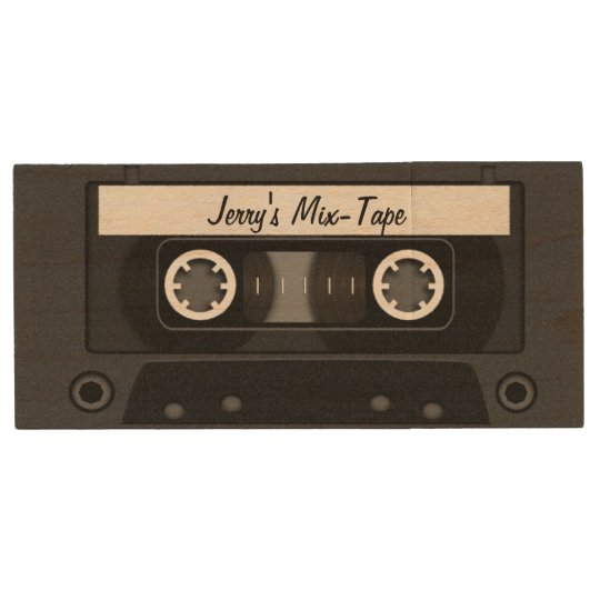 Mix Tape Personalised Black Wood USB Flash Drive