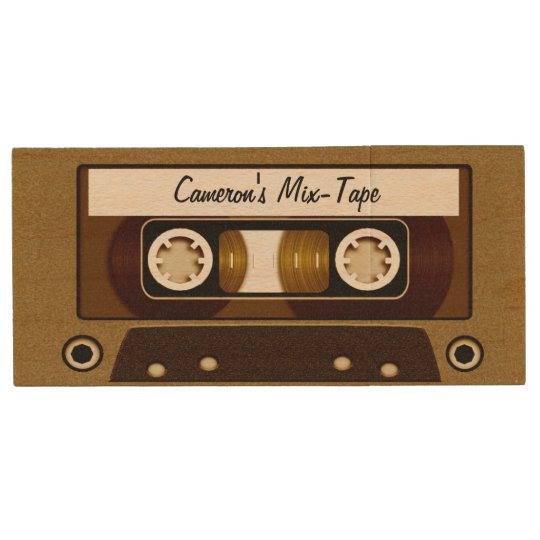 Mix Tape Personalised Gold Wood USB Flash Drive
