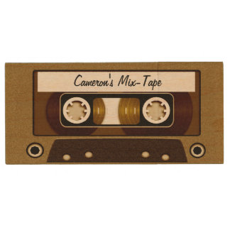 Mix Tape Personalized Gold Wood USB Flash Drive