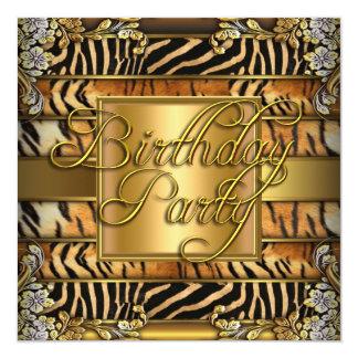 Mixed Animal Print Woman's Birthday Party 13 Cm X 13 Cm Square Invitation Card