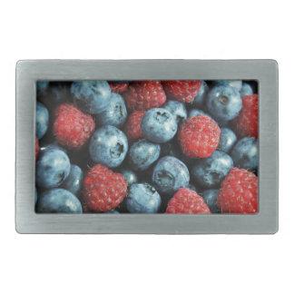 Mixed berries (blueberries and raspberries) design rectangular belt buckle