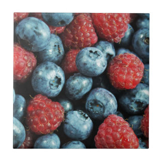 Mixed berries (blueberries and raspberries) design small square tile