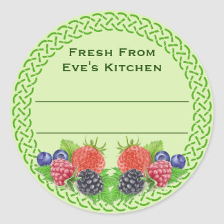 Mixed Berries with Celtic Round Canning Classic Round Sticker