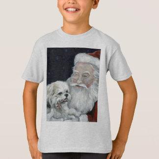 Mixed Bichon Shihtzu & Santa Christmas Art T Shirt