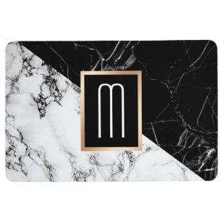 Mixed Black White Marble Texture Monogram Floor Mat