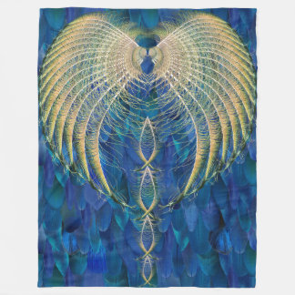 Mixed Blues Feather Rishi blanket