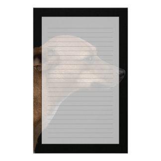 Mixed breed dog profile on black background stationery design