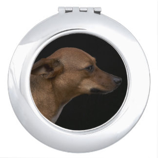 Mixed breed dog profile on black background vanity mirrors