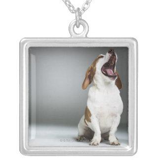 Mixed breed dog yawning square pendant necklace