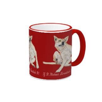 mixed breed GSD dog scratching with funny slogan Ringer Mug