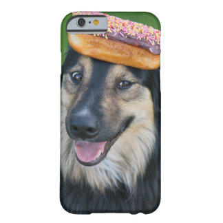 Mixed breed shepherd with donut on head barely there iPhone 6 case