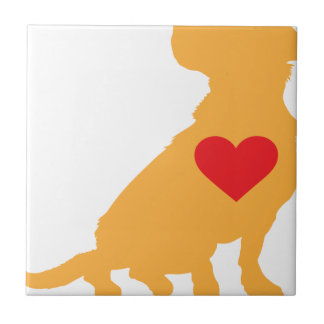 Mixed Breed Silhouette Small Square Tile