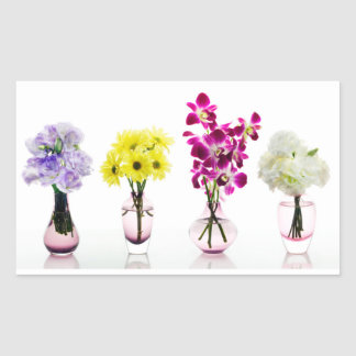 Mixed Colorful Flowers Orchids Daisies Rectangular Sticker