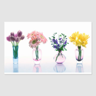 Mixed Colorful Flowers Tulips Daisies Lilacs Rectangular Sticker