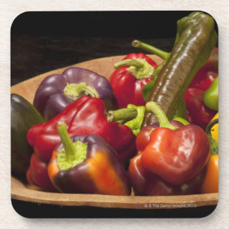 Mixed colors and types of peppers coaster