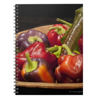 Mixed colors and types of peppers spiral notebook