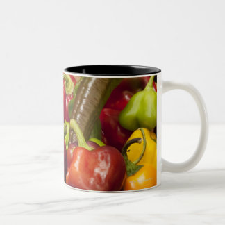 Mixed colors and types of peppers Two-Tone coffee mug