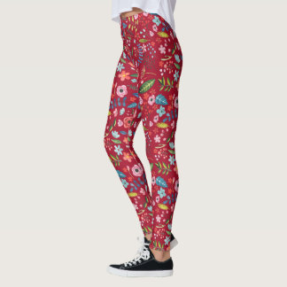 Mixed Colors Flowers & Leafs Seamless Pattern Leggings