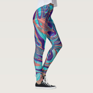 Mixed Colors Marble Swirls background Leggings