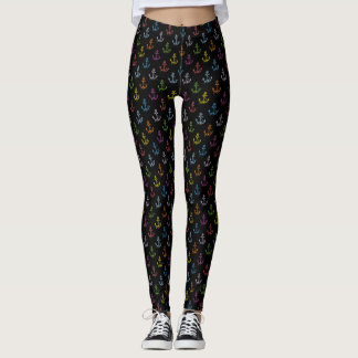 Mixed Colors Nautical Anchors Pattern Leggings
