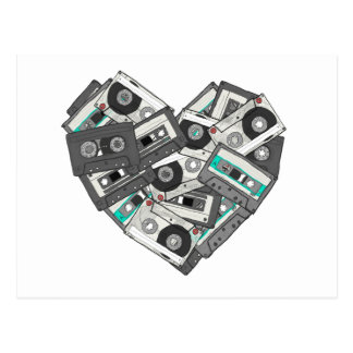 Mixed Feelings Cassette Tape Heart Postcard