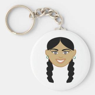Mixed Girl Basic Round Button Key Ring